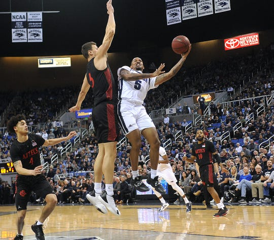 Nevada's Nisre Zouzoua shoots against San Diego State during Saturday's game at Lawlor Events Center.