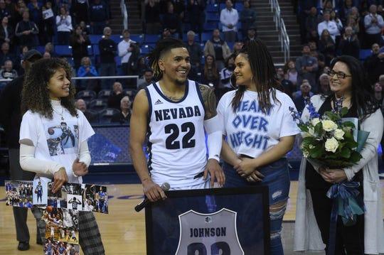 Nevada senior Jazz Johnson was one of four Wolf Pack seniors honored Saturday night.