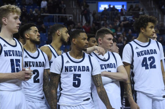 Nevada takes on San Diego St. during their basketball game at Lawlor Events Center in Reno on Feb. 29, 2020.