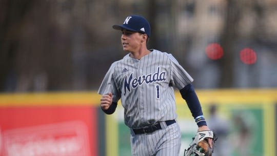Nevada's Tyler Bosetti during an NCAA baseball game against Oregon on Friday, Feb. 21, 2020 in Eugene, Ore. (AP Photo/Chris Pietsch)