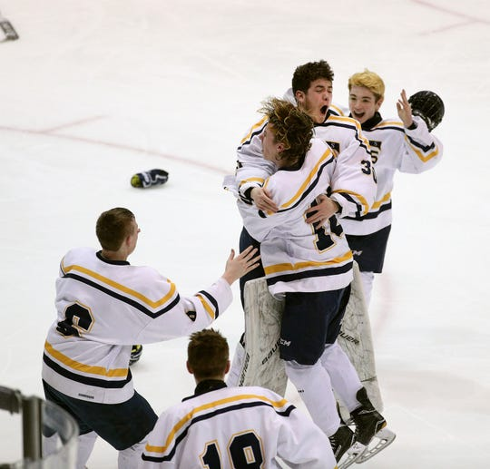 Thomas goalie Connelly Springer celebrates with his team after Webster beat Canandaigua 4-2 in the Class B final