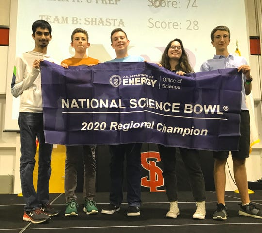 U-Prep's high school team took first place in the Far Nor Cal Science Bowl on Saturday, Feb. 29, 2020, at Simpson University. Team members are, left to right, Jason Khatkar, Connor Davainis, Thomas Neill, Abbey Bowling and Kelvin Matthews. U-Prep defeated Shasta 74-28 in the finals and now will advance to the National Science Bowl in Washington, D.C.