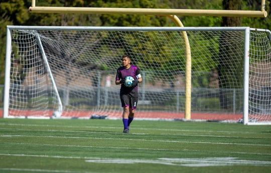 Salinas goalie Laryssa Venegas looks for a teammate to pass to. Feb 29, 2020.