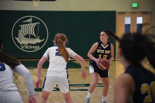 Notre Dame guard Madison Kirk (12) looks to pass to the corner. Feb. 29, 2020.