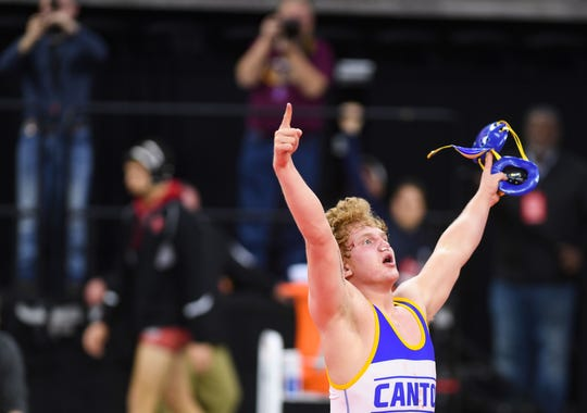 Canton's Cullen Rutten celebrates winning the class B-195 match of the high school state wrestling finals on Saturday, Feb. 29, at the Denny Sanford Premier Center in Sioux Falls.