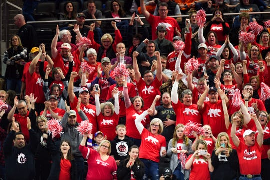 """Fans of """"polar bear"""" Nash Hutmacher cheer for him in the stands during the high school state wrestling finals on Saturday, Feb. 29, at the Denny Sanford Premier Center in Sioux Falls."""