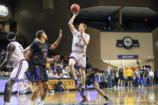 Jack Thompson goes up for a shot Saturday in his team's loss to Minnesota State.
