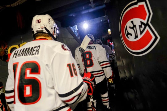 St. Cloud State players take the ice for the first period of the Saturday, Feb. 29, 2020, game against Denver at the Herb Brooks National Hockey Center in St. Cloud.