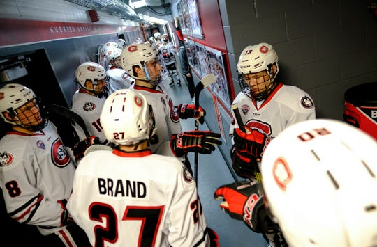 St. Cloud State players get ready to take the ice for their last regular-season home game Saturday, Feb. 29, 2020, game at the Herb Brooks National Hockey Center in St. Cloud.