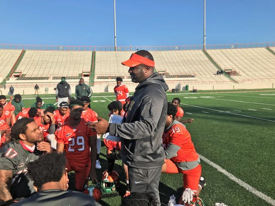 FAMU football coach Willie Simmons addresses his team at the end of the first spring practice on Saturday, Feb. 29, 2020.