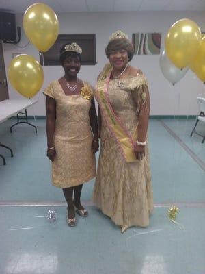 Golden Sorors from Chi Epsilon Omega chapter Mrs. Linette F. Davis and Dr. Barbara L. Oguntade.