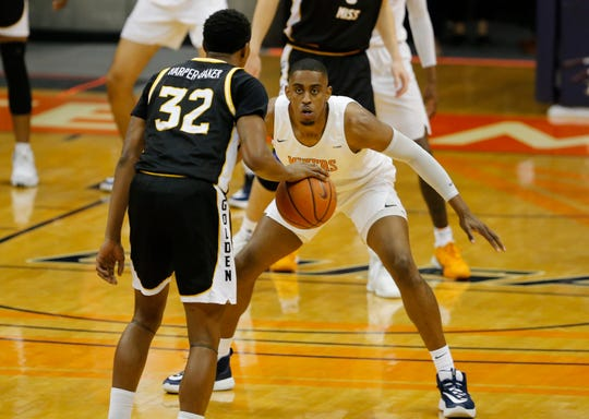 UTEP's Bryson Williams guards Southern Miss' Leonard Harper-Baker Saturday at the Don Haskins Center