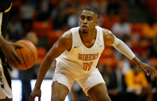 UTEP's Bryson Williams guards the ball Sunday against Southern Miss