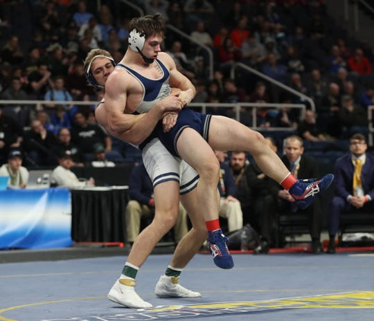 Perry's Brock Conaway defeats Cobleskill-Richmondville's Ethan Cooper in the 182-pound championship match at the NYSPHSAA Wrestling Championships at Times-Union Center in Albany on Saturday, February 29, 2020.