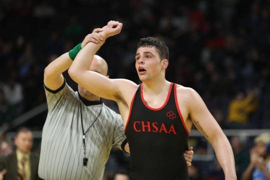 Iona Prep's Matt Kelly defeats Nick Franco from Farmingdale in the 195-pound championship match at the NYSPHSAA Wrestling Championships at Times-Union Center in Albany on Saturday, February 29, 2020.