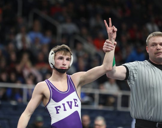 Palmyra-Macedon's Jace Schafer defeats Newfane's Andy Lucinski in the 106-pound championship match at the NYSPHSAA Wrestling Championships at Times-Union Center in Albany on Saturday, February 29, 2020.