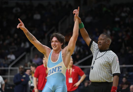 John Jay-East Fishkill's Tyler Albis defeats Fox Lane's Quincy Downes in a 170-pound championship match at the NYSPHSAA Wrestling Championships at Times-Union Center in Albany on Saturday, February 29, 2020.
