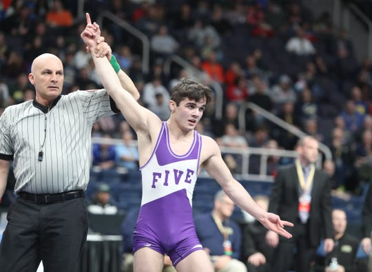 Honeoye Falls-Lima's Anthony Noto defeats Cooperstown's Avery Leonard 120-pound championship match at the NYSPHSAA Wrestling Championships at Times-Union Center in Albany on Saturday, February 29, 2020.