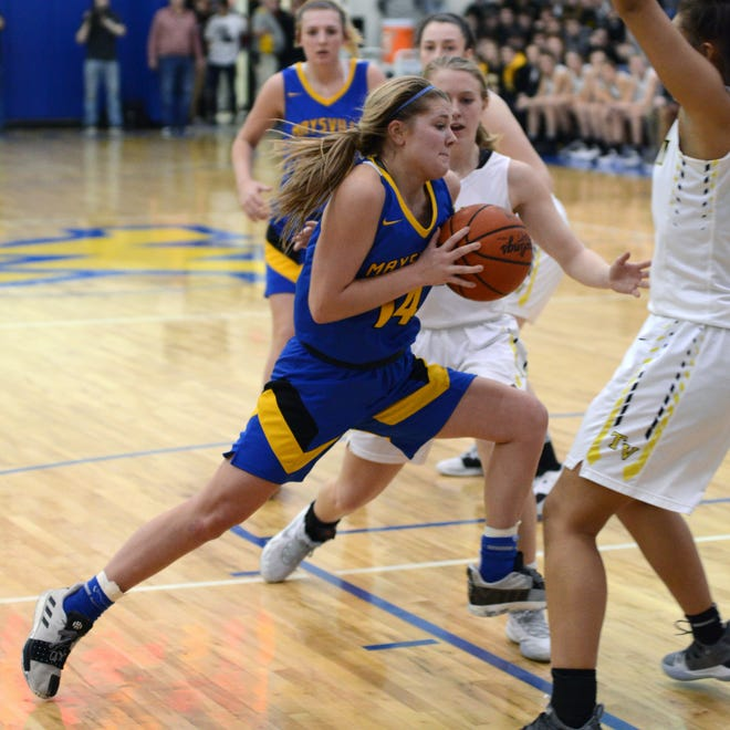 Bailee Smith, of Maysville, drives into the lane against Tri-Valley during a Division II district final on Saturday at West Muskingum's Gary Ankrum Gymnasium.