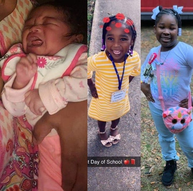 (From left) Sisters Dreya Reign Russaw, 4 months, Brooklyn Cooper, 4, and Jayda Cooper, 7, died in a house fire Saturday night in Alexandria.