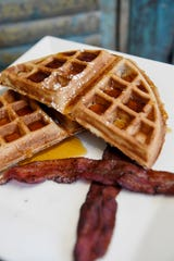 Waffles with bacon from Open Oven in Black Mountain February 28, 2020.