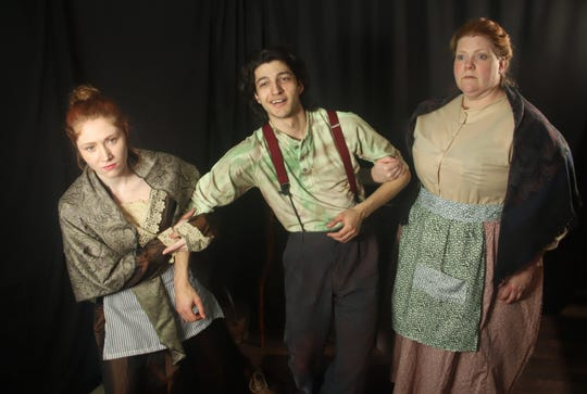 "From left, Amber Gance, Eric Fernandez and Jessica Pullis star in ""The Playboy of the Western World."""