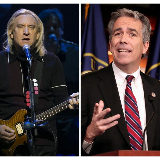 Joe Walsh (left) is the Eagles guitarist. Joe Walsh (right) is the Republican talk radio host and former U.S. representative who dropped out of the 2020 presidential primary.