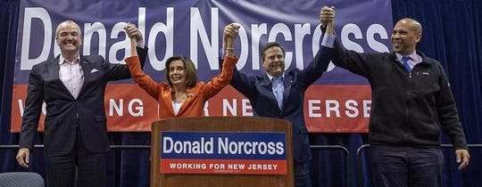 Gov. Phil Murphy, House Speaker Nancy Pelosi, Rep. Donald Norcross and Sen. Cory Booker celebrate a fundraiser for Norcross on Saturday, Feb. 29.