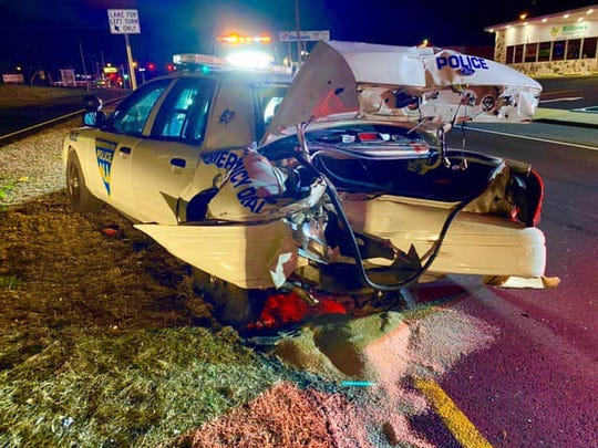 A Washington Township police car driven by Officer Tim Jordan was rear-ended on Route 42 at Ganttown Road early Saturday. The officer was medically cleared.