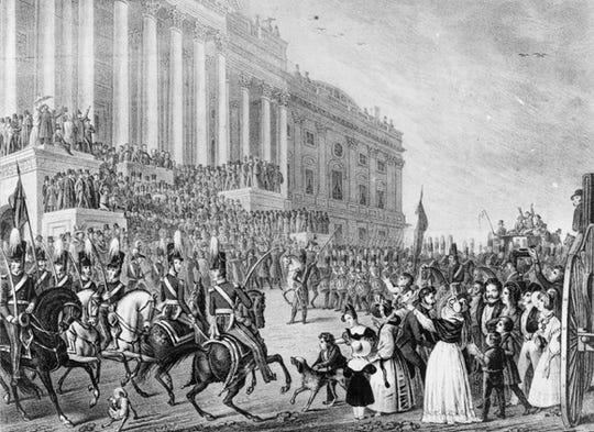 The inauguration of President William Henry Harrison in 1841.