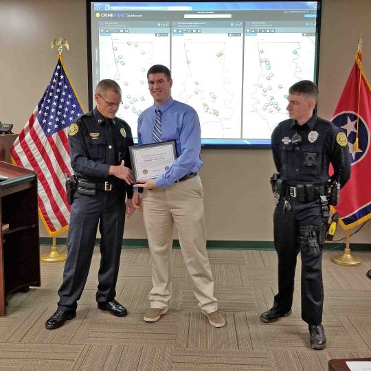 Sgt. Adam Post receiving the Lifesaver Award.