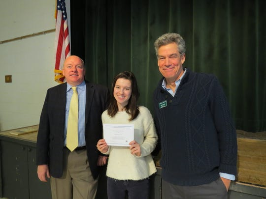 Camila Fang of Edison, with Andrew Webster, head of school and Chris Teare, director of College Counseling
