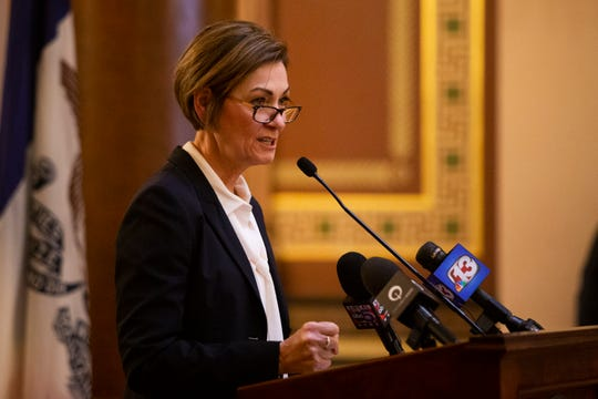 """Iowa Gov. Kim Reynolds speaks at a """"Rally for Life"""" event on Mar. 2, 2020 at the Iowa State Capitol. Speakers opposed the 2018 Supreme Court decision of the state's constitution that gives Iowa women a fundamental right to abortion."""