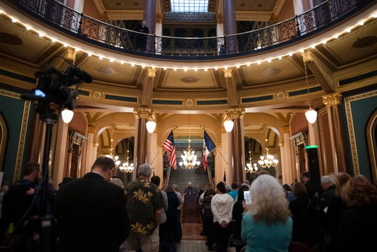 """Attendees listen to speakers at a """"Rally for Life"""" event on Mar. 2, 2020 at the Iowa State Capitol. Speakers opposed the 2018 Supreme Court decision of the state's constitution that gives Iowa women a fundamental right to abortion."""