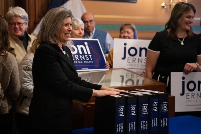 Binders of over 24,000 signatures in support of Sen. Joni Ernst are seen Mar. 2, 2020 at the Iowa Capitol after Ernst files re-election paperwork. Sen. Ernst, a first-term Republican, faces five Democratic opponents in the 2020 race.