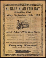 A newspaper called the Iowa Kourier published news for members of the Ku Klux Klan, including this advertisement for a rally in 1924.