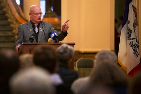 """Rep. Steven Holt, R-Denison speaks at a """"Rally for Life"""" event on Mar. 2, 2020 at the Iowa State Capitol. Speakers opposed the 2018 Supreme Court decision of the state's constitution that gives Iowa women a fundamental right to abortion."""