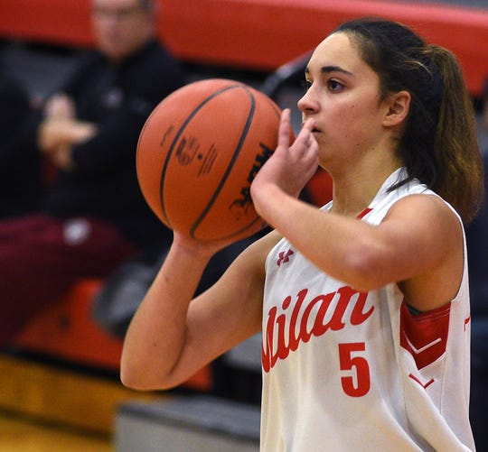 Milan's Sophia Kirk of Milan sets to shoot a 3-pointer against Monroe St. Mary Catholic Central.
