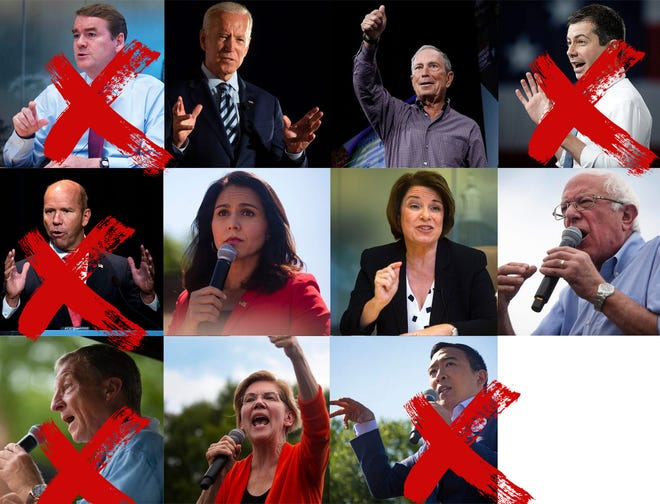 From left to right, starting at the top: U.S. Sen. Michael Bennet, former Vice President Joe Biden, former Mayor Michael Bloomberg, former Mayor Pete Buttigieg, former U.S. Rep. John Delaney, U.S. Rep. Tulsi Gabbard, U.S. Sen. Amy Klobuchar, U.S. Sen. Bernie Sanders, Tom Steyer, U.S. Sen. Elizabeth Warren, and Andrew Yang.