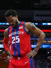Detroit Pistons guard Derrick Rose walks off the court in the second quarter against the Sacramento Kings, March 1, 2020 in Sacramento, Calif.