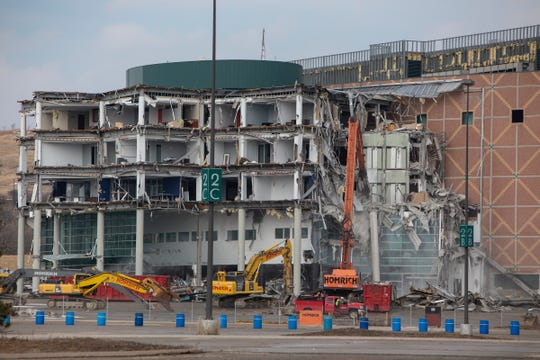 The Palace of Auburn Hills can be seen in the early stages of demolition Monday, March 2, 2020.