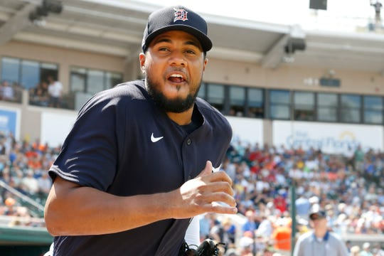 Tigers third baseman Jeimer Candelario takes the field before the 11-11 tie with the Boston Red Sox at Publix Field at Joker Marchant Stadium on Monday, March 2, 2020.