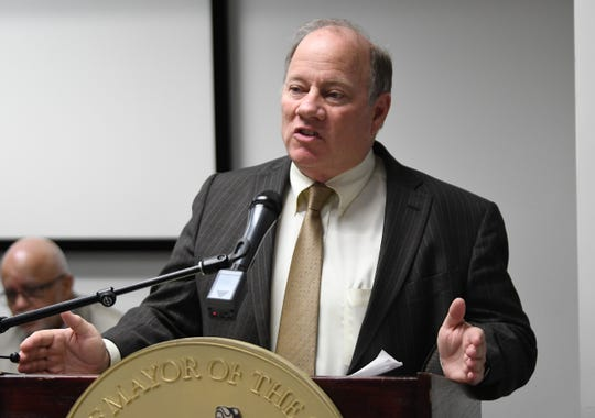 Mayor Mike Duggan gives his remarks about the new PAYS (Property Tax Assistance Program) during the press conference at Wayne Metro Community Action Agency.