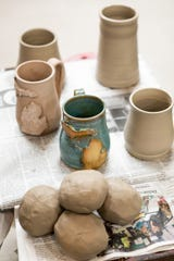 A variety of color and texture options are available for DaniJo Hawkins Pottery workshops.