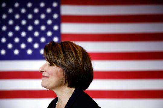 In this Jan. 10, 2020, file photo Democratic presidential candidate Sen. Amy Klobuchar, D-Minn., visits with attendees after speaking at a campaign event in Cedar Rapids, Iowa.