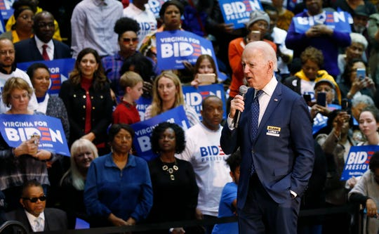 Democratic presidential candidate former Vice President Joe Biden, speaks during a campaign rally Sunday, March 1, 2020, in Norfolk, Va. (AP Photo/Steve Helber)