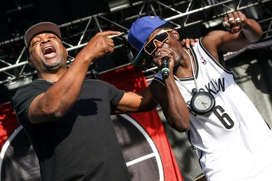 Chuck D, left, Flavor Flav of Public Enemy performing at the 2015 BottleRock Napa Valley Music Festival in Napa, Calif. on May 29, 2015.