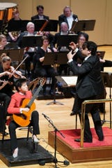 Roger Kalia conducts the Evansville Philharmonic Orchestra and soloist Meng Su during their performance on Feb. 29, 2020.