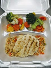 Grilled chicken with rice and califlrnia blend take-home meal from Touch of Home Catering in Mount Vernon.