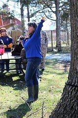Deb Nofzinger, the Sandusky County Park District's program coordinator, explains how syrup is made from tree sap at the park district's 2019 Sap to Syrup event. The park district will hold the annual event Saturday from 1 to 4 p.m. at the Wilson Nature Center in Lindsey.